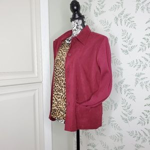 Vtg Maroon Jacket Top Button Down Suede Sweater